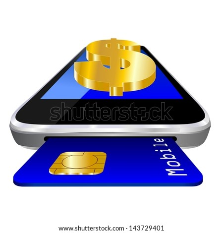 mobile payment illustration with smartphone, credit card an the currency symbol of the Dollar