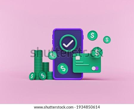 mobile payment, Online Card Payment, digital Cashback concept. minimal design. 3d rendering