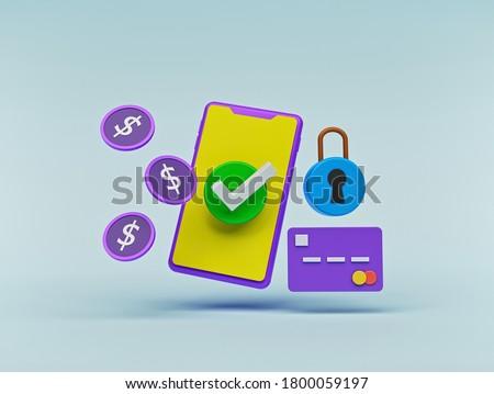 mobile payment, Online Card Payment, digital money transfer concept. minimal design. 3d rendering