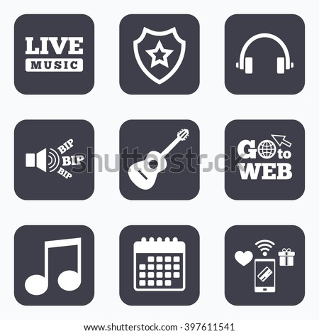 Mobile payments, wifi and calendar icons. Musical elements icons. Musical note key and Live music symbols. Headphones and acoustic guitar signs. Go to web symbol.