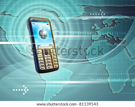 Mobile phone allows you to connect with the whole world. Digital illustration.