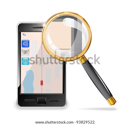 Mobile phone and a magnifying glass set in gold are shown in the image.