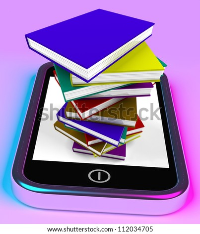 Mobile Phone And Books Stack Shows Online Knowledge