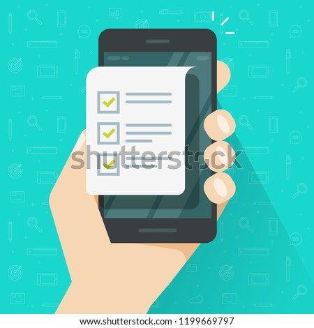 Mobile phone and checklist illustration, flat cartoon smartphone with paper document and to do list checkboxes, concept of survey, online quiz, completed things or done test, cellphone feedback image