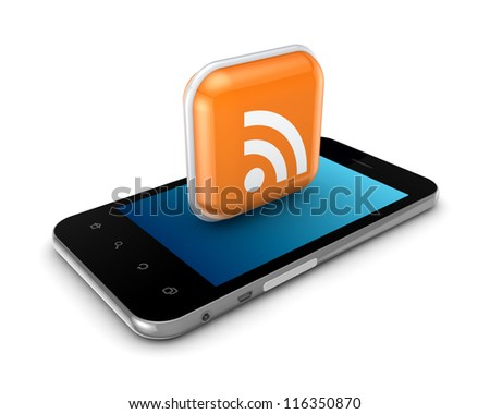 Mobile phone and icon with RSS symbol.Isolated on white background.3d rendered.