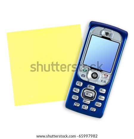Mobile phone and note paper isolated on white background