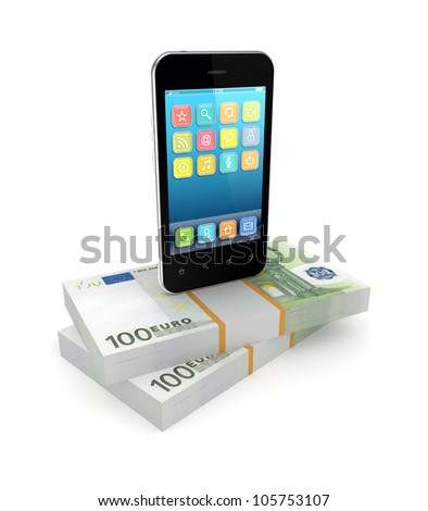 Mobile phone and packs of euro.Isolated on white background.3d rendered. - stock photo