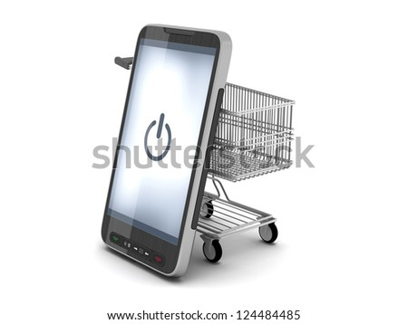 Mobile phone and shopping cart on white background