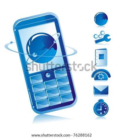 Mobile phone and telecommunication icons