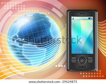 Mobile phone as a global communication tool. Digital illustration.
