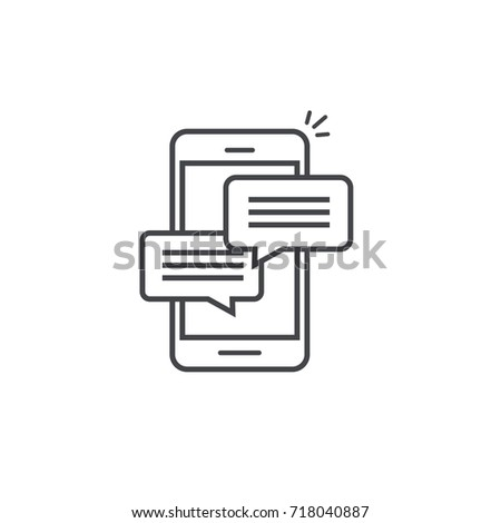Mobile phone chat message notifications icon isolated line outline style, smartphone chatting bubble speeches pictogram, concept of online talking, speak messaging, conversation, dialog symbol image