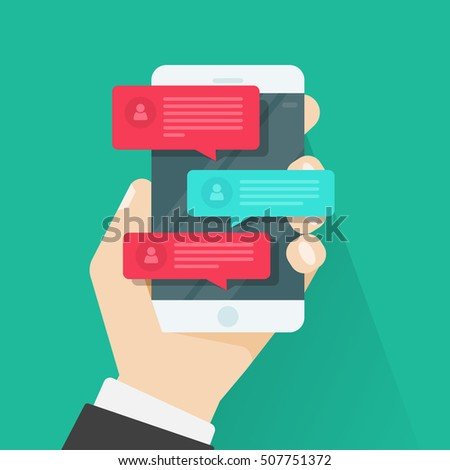 Mobile phone chat message notifications illustration isolated on color background, hand with smartphone and chatting bubble speeches, concept of online talking, speak, conversation, dialog image