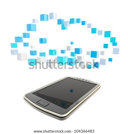 Mobile phone concept under the cloud technology computing symbol made of glossy cubes isolated on white