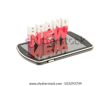 """Mobile phone concept with words """"brand new"""" on the touch screen isolated on white"""