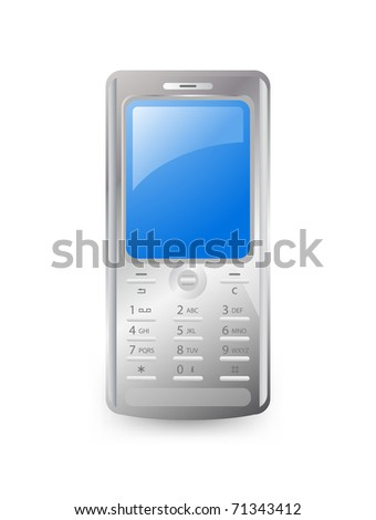Mobile phone detailed on white