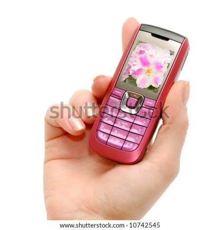 Mobile phone in a female hand
