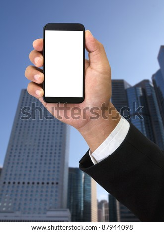 Mobile phone in businessman hand