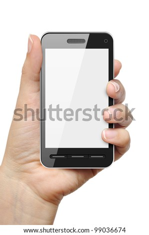 Mobile phone in female hand isolated on white background