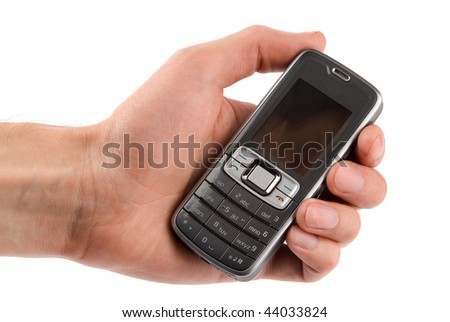 Mobile phone in man hand isolated on white background
