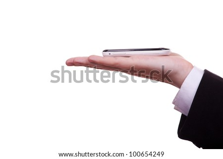 Mobile phone in the businessman's hand isolated on white