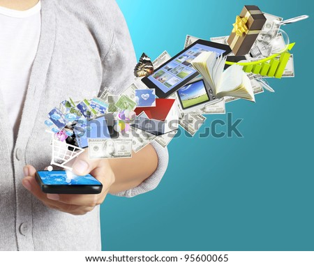 Mobile phone in the hand - stock photo