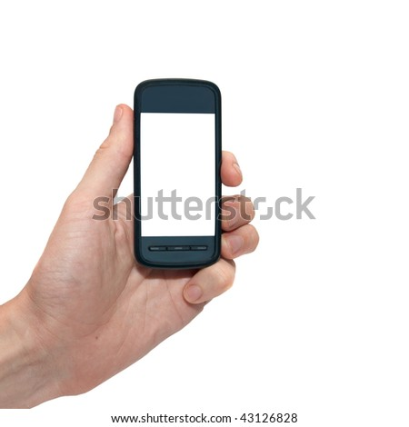 Mobile phone in the hand with copyspace isolated on white