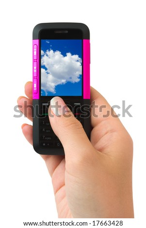 Mobile phone in woman hand isolated on white background