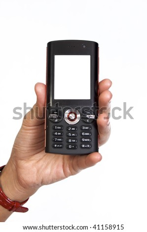 Mobile phone in woman hand on white background