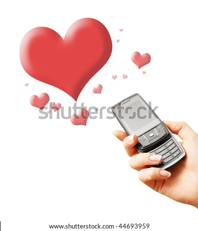 stock photo : Mobile phone in woman hand. With many red hearts   around. Isolated on white. Closeup.