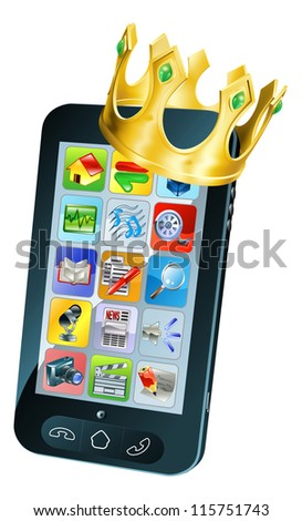 Mobile phone king concept, mobile phone wearing a gold crown