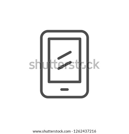 Mobile phone line icon isolated on white