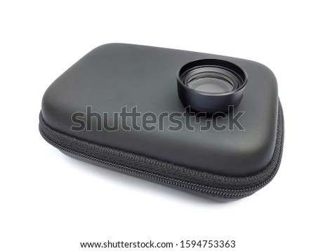 Mobile phone macro lens and case isolated on white background. 20x macro lens for smartphone.