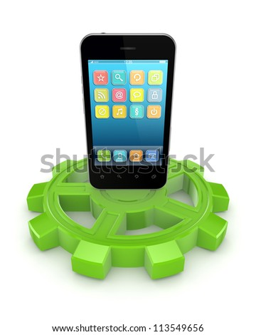 Mobile phone on a green gear.Isolated on white background.3d rendered. - stock photo