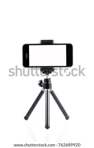 Mobile phone on a tripod
