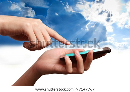 Mobile Phone on hand connect to the world