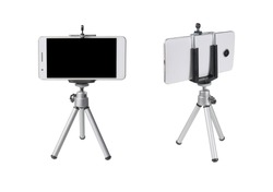 Mobile Phone  on tripod for take photos isolated on white background with clipping path