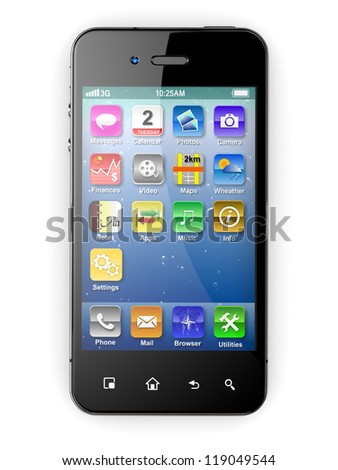 Mobile phone on white background. Three-dimensional image. 3d