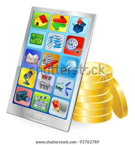 Mobile phone or tablet PC gold coin money concept