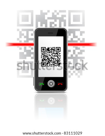 Mobile Phone scaned QR code illustration