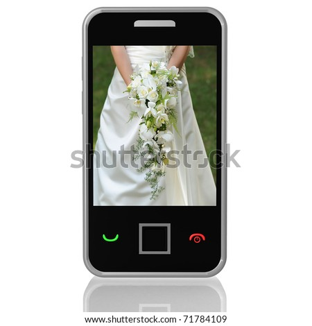 mobile phone screen and an image of the bride in a wedding dress with a bouquet of flowers in their hands