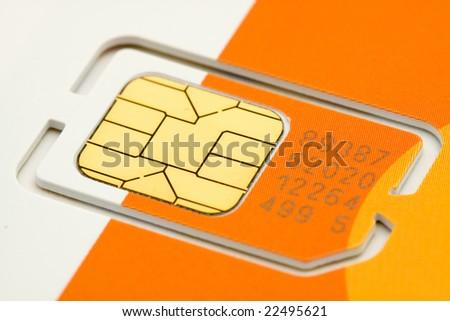 mobile phone sim card macro shot