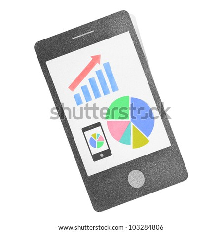 Mobile phone smartphone chart pie graph craft by cork board on isolate
