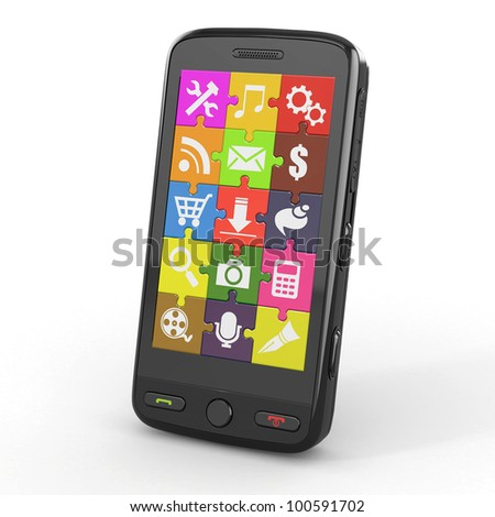 Mobile phone software. Screen from puzzle with icons. 3d - stock photo