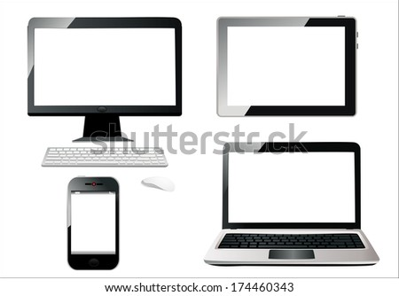 Mobile phone, tablet pc, notebook and computer.