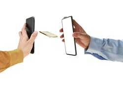 mobile phone technology banking services for received or sending money on white background