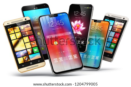 Mobile phone wireless communication technology and mobility business office concept: 3D render of smartphones with colorful application interface with color icons and buttons isolated on white