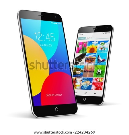 Mobile phone wireless communication technology and mobility concept: group of modern touchscreen smartphones with colorful application interfaces with icons and buttons isolated on white background