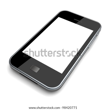 Mobile phone with a blank screen on a white background. 3d image