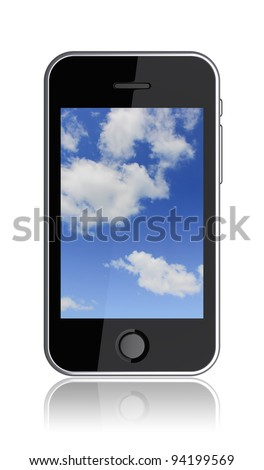 Mobile phone with a cloudy sky on the screen. 3d image