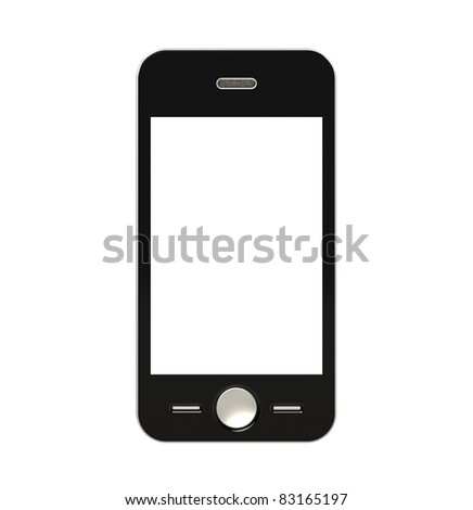 Mobile Phone with blank Screen for Copy Space. Isolated